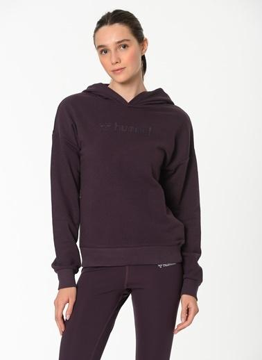 Hummel Hummel 9209274079 Kapüşonlu Uzun Kol Logo Baskılı Blackberry Wine Kadın Hoodie Siyah